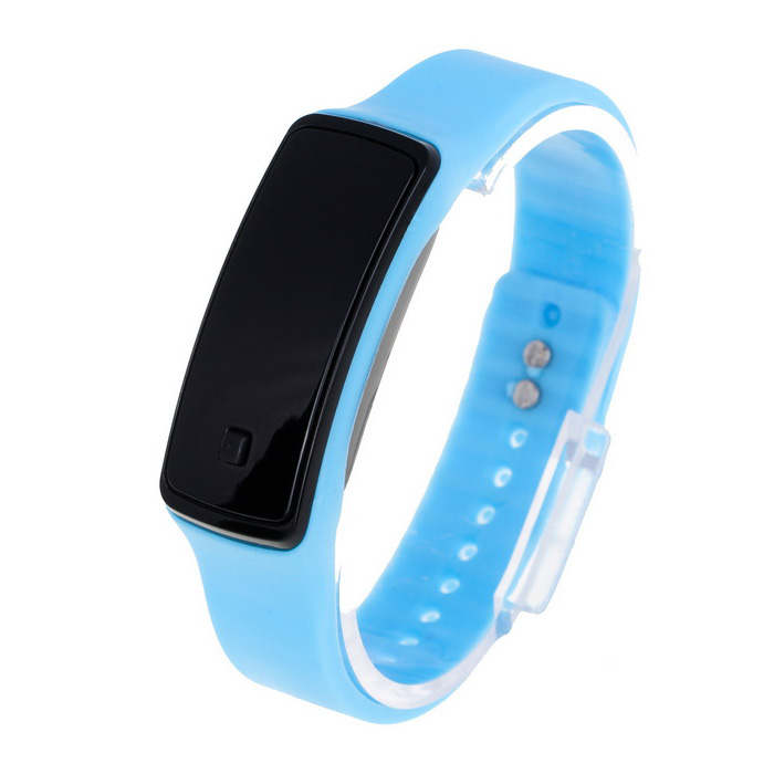 Unisex Fashion Sports Rubber Band LED Digital Wrist Watch - Blue