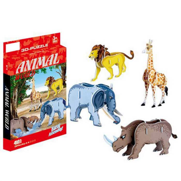 DIY 4-In-1 3D Puzzle AR/Ctic Animals Toy - Yellow + Blue + Brown