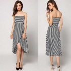 European Style Sexy Slim Strapless Irregular Hem Striped Dress - Black + White (M)