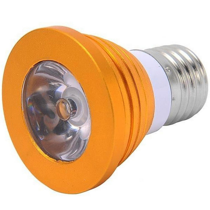 E27 3W Dimmable RGB LED Bulb w/ Remote Control - Golden (AC 85~265V )