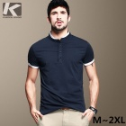 KUEGOU Men's  Navy Blue Short sleeve POLO Shirt