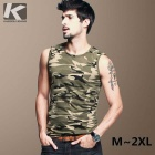 KUEGOU Men's  Camouflage Sleeveless round collar T-Shirt
