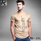 KUEGOU Men's  Letter Pattern V-collar Short sleeve T-Shirt