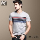 KUEGOU Men's Stripe Pattern Round-collar Short sleeve T-Shirt  L