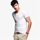 KUEGOU Men's Henry collar Short sleeve Plain T-Shirt  L