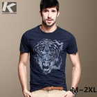 KUEGOU Men's  Tiger Pattern Short sleeve Round collar T-Shirt  XL