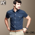 KUEGOU Men's Navy Blue Lattice pattern Short sleeve Shirt