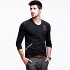 KUEGOU Men's  Embroidery  Long sleeve Round collar T-Shirt  L