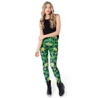 Leaves Pattern Elastic Tight Polyester Leggings Feet Pencil Pants - Green