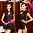 Sexy See-Through Chinese Cheongsam Lingerie Nightdress Underwear - Black + Red
