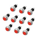 2-Pin Lockfree Self-Reset Push Button Switches - Black + Silver + Red (10PCS)