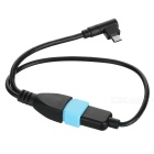 USB F to M USB / 90' Bend Micro USB Data Cable - Black + Blue (27.5cm)
