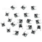 6 x 6 x 5mm Slightly Touch Button Tact Switches - Silver + Black (20PCS)