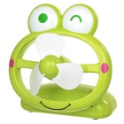Portable Frog Style 3-Blade 2-Mode USB Charging Palm Cooling Fan - Green + White