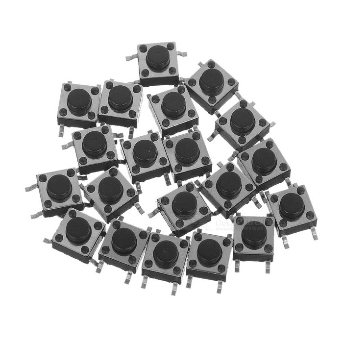 DIY 6 x 6 x 6mm interruptor de toque interruptor componente - preto (20 pcs)