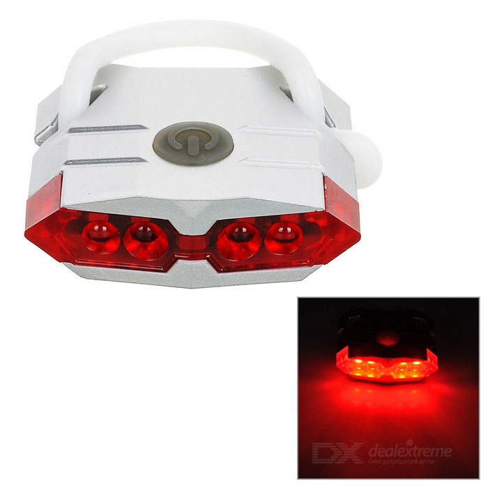 Leadbike USB Powered 4-LED Red Light Bike Taillight - Silvery White