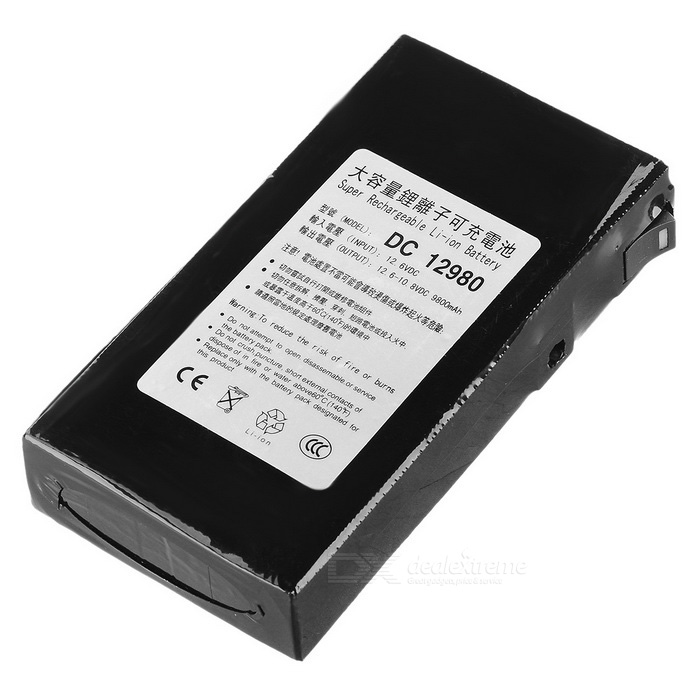 DC 12980 9800mAh Explosion-proof Rechargeable Li-ion battery w/ Switch - BlackBatteries<br>Form  ColorBlackModelDC12980Quantity1 DX.PCM.Model.AttributeModel.UnitMaterialPlasticCell TypeLithium IonBattery ModelOthers,12980Head TypeFlat TopMark Capacity9800 DX.PCM.Model.AttributeModel.UnitMeasured Capacity 9800 DX.PCM.Model.AttributeModel.UnitVoltage12.6 DX.PCM.Model.AttributeModel.UnitRechargeableYesRechargeable TimesOthers,more than 500 timesBuilt-in Protected CircuitYesOver Voltage ProtectionYesShort-Circuit ProtectionYesOver-Charging ProtectionYesOver-Discharging ProtectionYesMercury FreeYesInterface5.5 x 2.1 DX.PCM.Model.AttributeModel.UnitOther FeaturesOutput voltage: 12.6~10.8V DC; Output current: 1~2APacking List1 x Battery1 x US plug adapter (90cm cable / input voltage 110~240V)1 x Charging cable (50cm)<br>