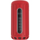 CCQ Multi-function Waterproof Outdoor BT Speaker w/ Power Bank, TF, LED Lighting, 3.5mm - Red