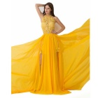 Women's Sexy Halter Backless Chiffon + Lace Prom Dress Evening Gown w/ Pearls - Orange (XL)