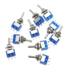 DIY Parts 6A 125V 102 Single Joint Toggle Switch - Deep Blue (10pcs)