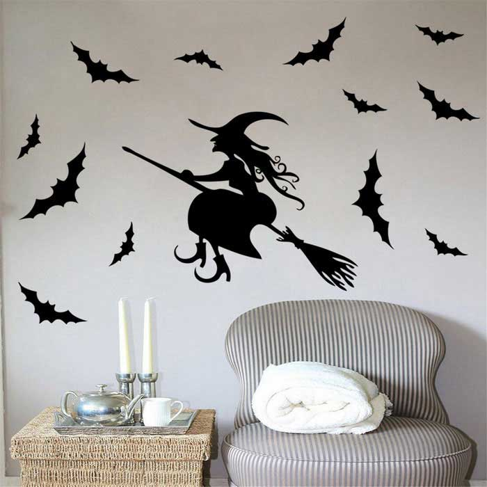 Removable halloween witch pattern children 39 s room wall - Ideas para hacer en halloween ...