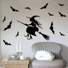 Removable Halloween Witch Pattern Children's Room Wall Sticker - Black