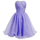 BAITUYA Women's Short Mini Strapless Beaded Organza Dress - Lavender (L)