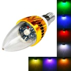 JIAWEN E14 3W Remote Controlled LED Candle Bulb Colorful Light 240lm - Golden (AC 85~265V)