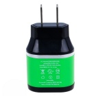 Universal Double-USB Port Travel Charger - Black + Green (US Plugs)