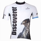 Paladinsport Men's Owl Pattern Outdoor Cycling Short-Sleeve Jersey T-Shirt - White + Brown (XXXL)