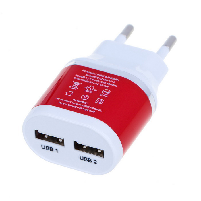 Universal Dual USB Travel Charger - White + Red (100~240V / EU Plug)AC Chargers<br>Form ColorWhite + RedModelN/AMaterialABSQuantity1 DX.PCM.Model.AttributeModel.UnitCompatible ModelsGeneralInput Voltage5 DX.PCM.Model.AttributeModel.UnitOutput Current2.1 DX.PCM.Model.AttributeModel.UnitOutput Power10 DX.PCM.Model.AttributeModel.UnitOutput Voltage5 DX.PCM.Model.AttributeModel.UnitPower AdapterEU PlugPacking List1 x Charger<br>