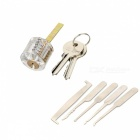 Transparent Practice Lock w/ 2 Keys + 5-Piece Single Hook Lock Picks Tools Set