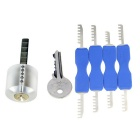 Transparent Practice Lock w/ One Key + Double-Head Comb Style Stainless Steel Lock Picks Set