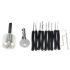 Transparent Practice Lock + 9-Piece Lock Picks Set w/ Z & L Shaped Quick-Picking Tools & 1 Key