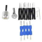 Transparent Practice Lock + 9-Piece Lock Picks + Comb Style Picking Tools Set w/ 1 Key