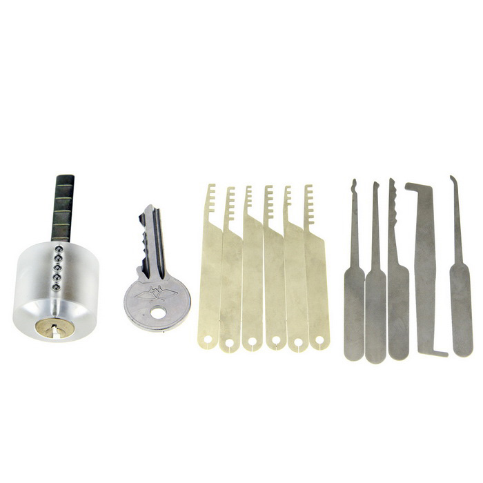 Transparent Practice Lock Picks Set w/ 1 Key