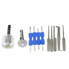 Transparent Practice Lock + Double-End Comb Style Lock Picks + Single-Hook Picks Tools Set w/ 1 Key