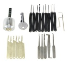 Transparent Practice Lock + 9-Piece Lock Picks + Single-Hook Picks + Comb Style Picking Tools Set