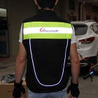 RidingTribe Reflective Riding Safety Vest - Black + Yellow Green (XXL)