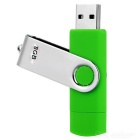 Rotary Micro USB / USB 2.0 Storage Flash Drive for Android Smartphones - Green + Silver (8GB)