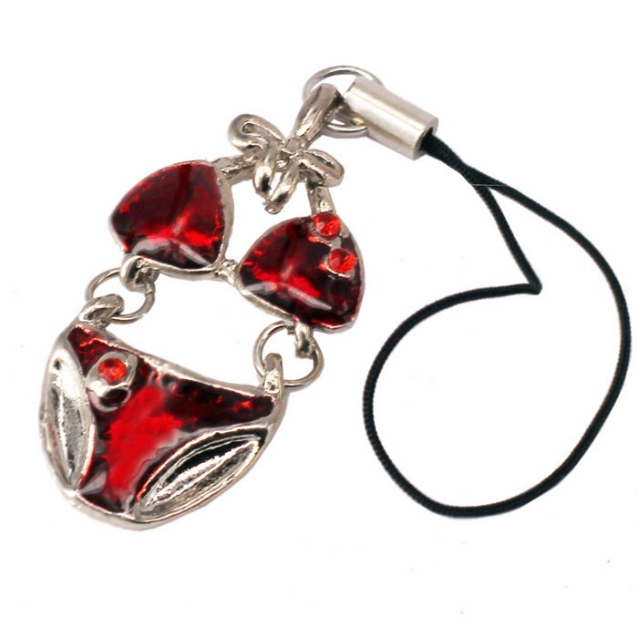 Bikini Style Pendant Mobile Phone Zinc Alloy Sling - Silver + Red