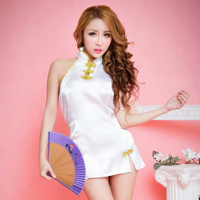 Women's Sexy Acrylic Backless Cheongsam Mini Dress - White + Golden