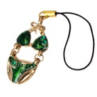 Bikini Style Pendant Mobile Phone Zinc Alloy Sling - Silver and Green - Phone Charms Cell Phones and Accessories