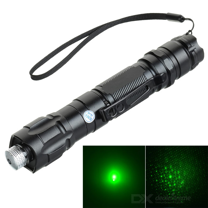 5mW Starry Star Pattern 532nm Green Laser Pointer Pen - Black + Silver