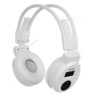 "1.0"" LCD Sports Wireless Headband Headphone w/ TF, 3.5mm, USB 2.0 - White"