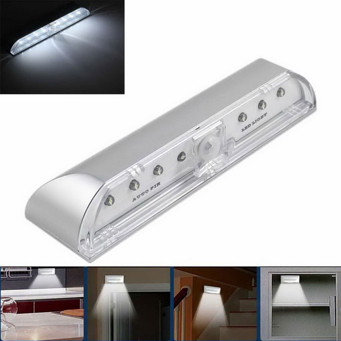 4W Auto PIR LED Night / Day Light / Motion Sensor Light - Silver (3V)LED Nightlights<br>MaterialAluminium alloyForm  ColorSilverQuantity1 DX.PCM.Model.AttributeModel.UnitPower4WRated VoltageOthers,DC 3 DX.PCM.Model.AttributeModel.UnitConnector TypeOthers,N/AColor BINWhiteChip BrandEpistarChip TypeLEDEmitter TypeOthersTotal Emitters8Theoretical Lumens400 DX.PCM.Model.AttributeModel.UnitActual Lumens320 DX.PCM.Model.AttributeModel.UnitColor Temperature6000KDimmableNoBeam Angle60 DX.PCM.Model.AttributeModel.UnitColor Temperature6000KInstallation TypeOthers,Adhesive tape or screwsWavelengthN/APacking List1 x Sensor Light (2 x AA batteries, not included)<br>