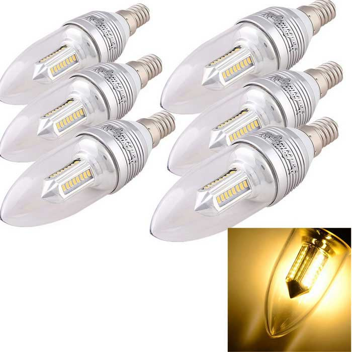 YouOKLight E14 3W 32-LED 3000K Warm White Light Bulb - Silver (6PCS)