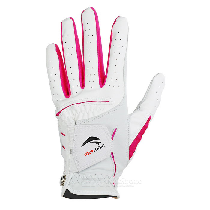 TOURLOGIC Womens Golf Goat Skin + PU Glove - White + RedGolf Supplies<br>ColorWhite + RedSizeOthers,Quantity1 PieceMaterialGoat skin + PUPalm Girth19 cmGlove Length20 cmPacking List1 x Glove<br>