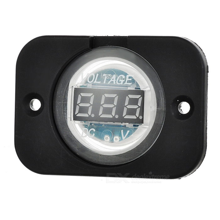 Green LED Voltmeter for Car, Motorcycle - Black + Transparent (12~24V)