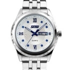 SKMEI Waterproof Stainless Steel Men's Quartz Watch w/ Calendar / Week Display - Silver + Dark Blue